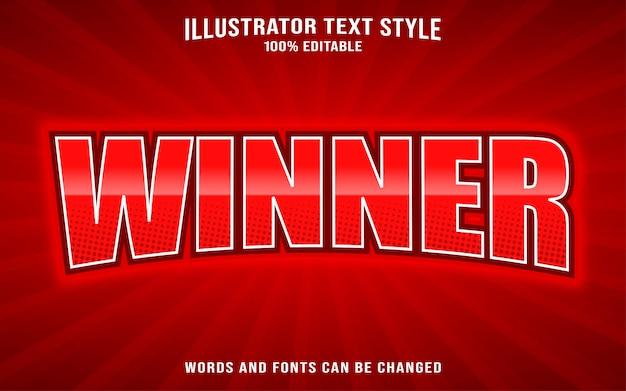 Modello di stile del testo del carattere - vincitore