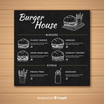 Modello di stile retrò menu ristorante burger sulla lavagna