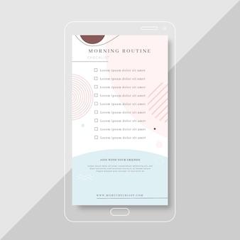 Modello di storia di instagram con lista di controllo di routine mattutina