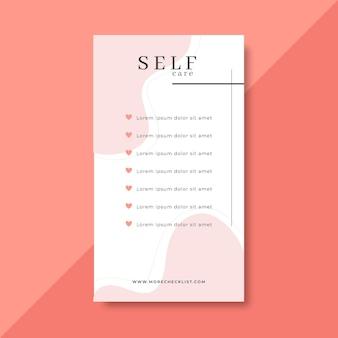 Modello di storia di instagram con lista di controllo per la cura di sé