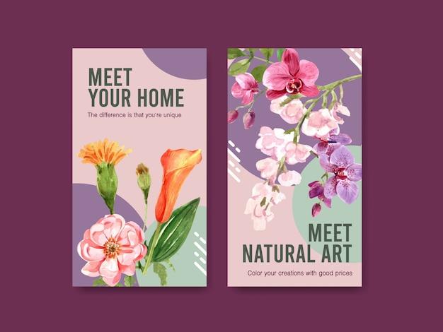 Modello di storia di instagram con progettazione di massima del fiore di estate