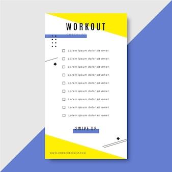 Modello di storia di instagram di lista di controllo di allenamento