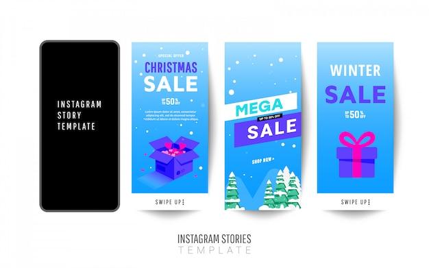 Modello di storia di instagram. grande design di banner di vendita di inverno con scatole regalo, alberi di natale