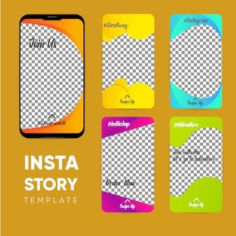 Modello di storia di instagram, insieme di set di storie