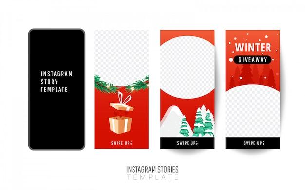 Modello di storia di instagram. regalo di natale con i contenitori di regalo, alberi di natale