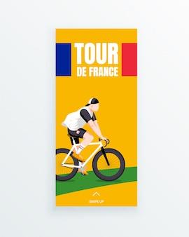 Modello di storia per social media a tappe in bicicletta da uomo tour de france con giovane ciclista in sella a una pista ciclabile verde. competizioni sportive e attività all'aperto. abbigliamento sportivo e attrezzature.