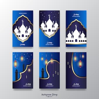 Modello di storie di instagram con il tema ramadan kareem
