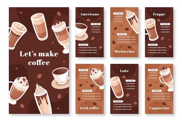 Modello di storie di instagram di caffetteria