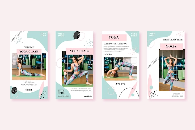 Modello di storie di instagram di classe yoga
