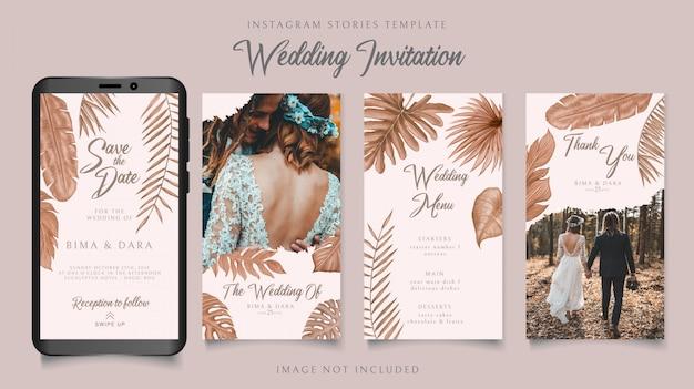 Modello di storie di instagram per il tema dell'invito di nozze con sfondo di foglie tropicali