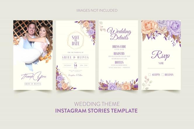 Modello di storie di instagram per la carta dell'invito di nozze con il fiore e le foglie dell'acquerello