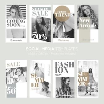 Modello di storie di instagram. vendita di moda, sconto, estate ecc.