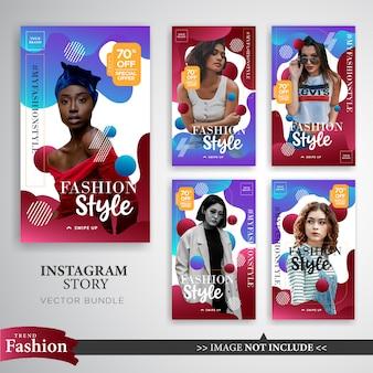 Modello di storie di instagram vendita moda colorato