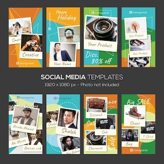 Modello di storie instagram con elemento di design cornice foto collage
