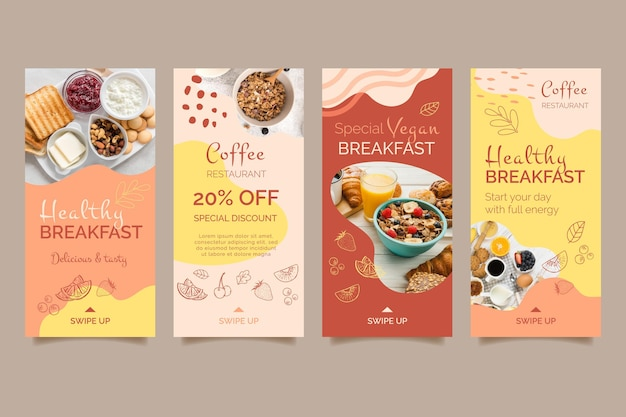 Modello di storie social media colazione sana
