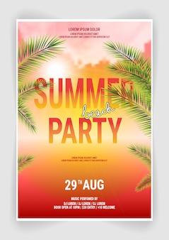 Modello di summer beach party flyer design con design tipografico con palme