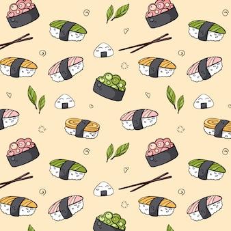 Modello di sushi senza cuciture disegnato a mano di vettore per la stampa