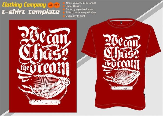 Modello di t-shirt, completamente modificabile con font e tagline
