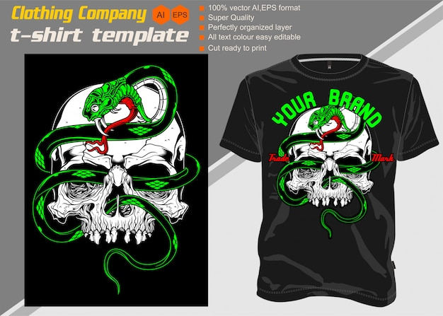 Modello di t-shirt, completamente modificabile con serpente cranio
