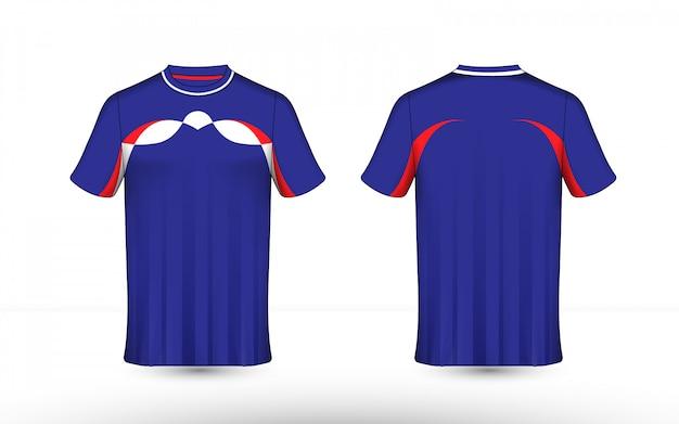 Modello di t-shirt e-sport layout blu, rosso e bianco