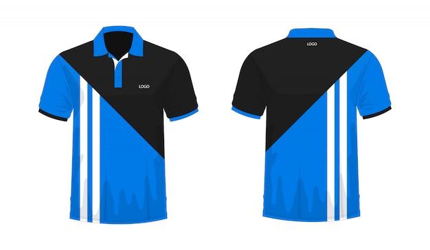Modello di t-shirt polo blu e nero per il design su sfondo bianco.