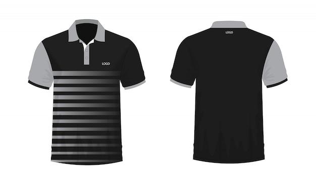 Modello di t-shirt polo grigio e nero per il design su sfondo bianco.