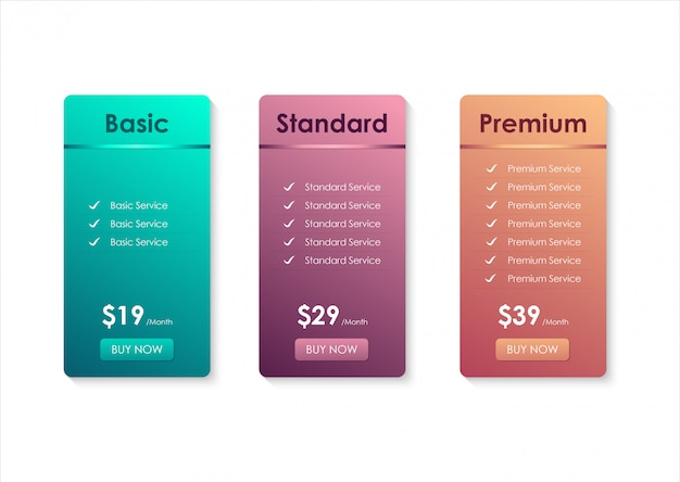 Modello di tabella dei prezzi