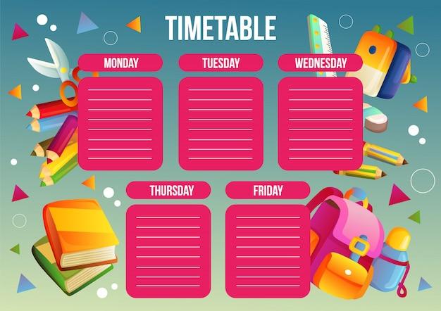Modello di tabella di orario scolastico con materiale scolastico