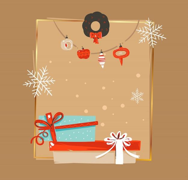 Modello di tag di cartolina d'auguri con illustrazioni di coon vintage tempo disegnato a mano buon natale e felice anno nuovo con ghirlanda di gingillo albero di natale e scatola a sorpresa su fondo marrone