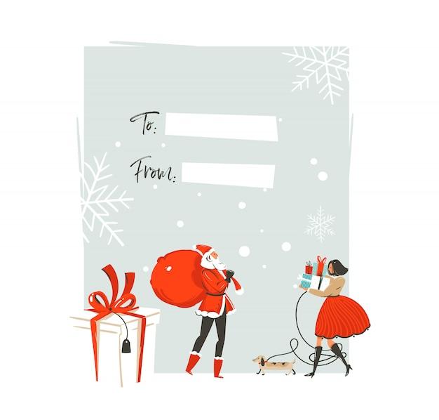 Modello di tag di cartolina d'auguri di buon natale e felice anno nuovo disegnato a mano illustrazioni di coon tempo con grande regalo boxe, cane da compagnia e persone coppia su priorità bassa bianca