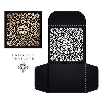 Modello di taglio del laser di carta di nozze vettoriale elementi decorativi d'epoca sfondo disegnato a mano islam arabo motivi indomani indiani illustrazione vettoriale