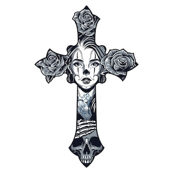 Modello di tatuaggio in stile chicano