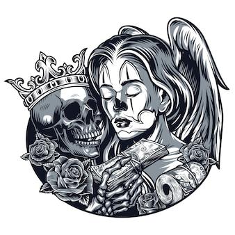 Modello di tatuaggio vintage chicano