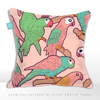 Modello di tessuto senza giunte di uccelli pappagalli pastello su cuscino, colore rosa e turchese a tema.