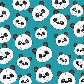 Modello di teste di panda orso carino