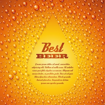 Modello di testo birra birra su bolle di acqua condensata