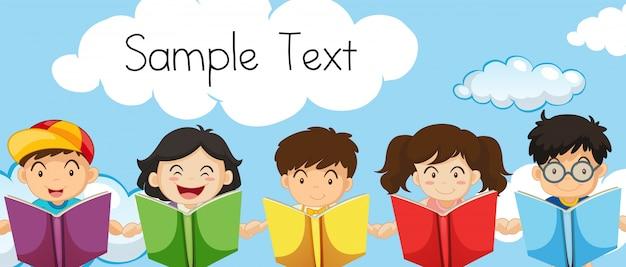 Modello di testo di esempio con bambini che leggono libri
