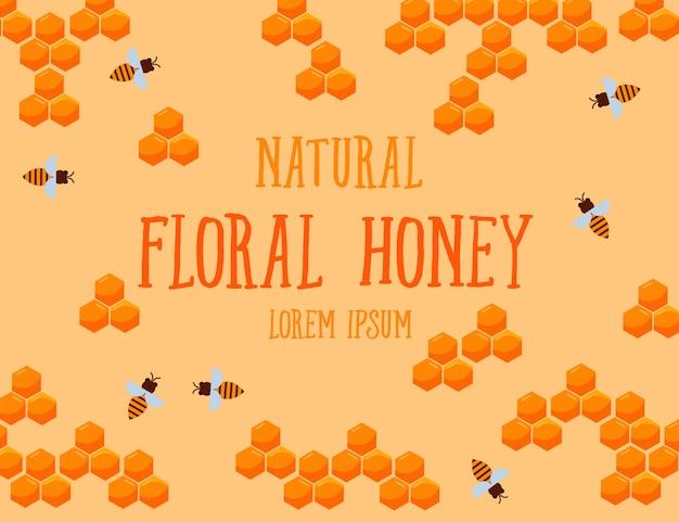 Modello di testo miele floreale naturale con nido d'ape e ape