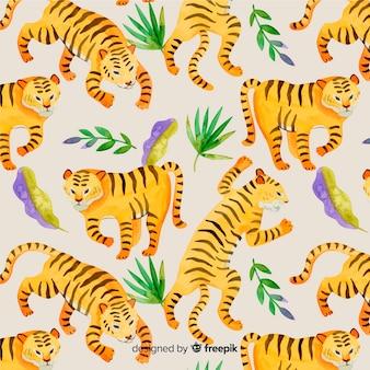 Modello di tigre selvaggia in acquerello