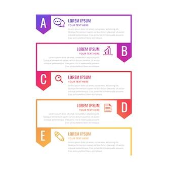 Modello di timeline infografica colorato