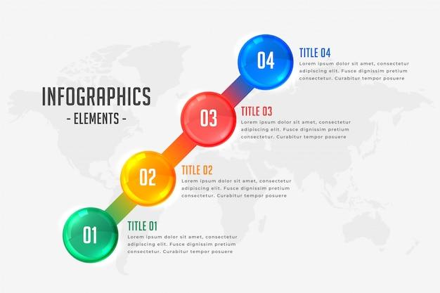 Modello di timeline infografica in quattro passaggi