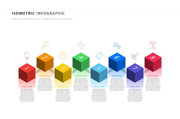 Modello di timeline infografica isometrica con realistici elementi cubici 3d