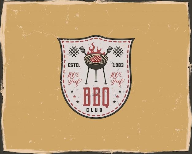 Modello di tipografia club barbecue in stile retrò retrò