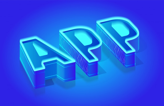 Modello di tipografia vettoriale di app parola isometrica