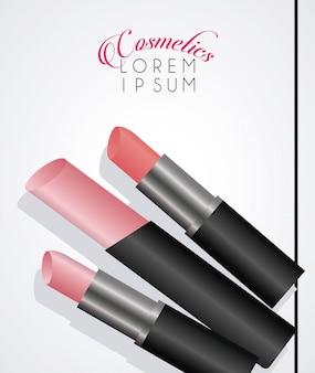 Modello di titolo e cosmetici rossetto trucco