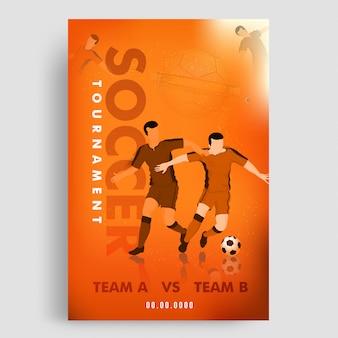 Modello di torneo di calcio o design flyer con giocatori di calcio