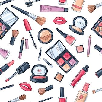 Modello di trucco senza soluzione di continuità. illustrazioni di diversi cosmetici. fondo di vettore di fascino di pomata e rossetto