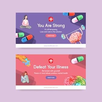 Modello di twitter con concept design della giornata mondiale della salute mentale per i social media e l'illustrazione di vettore dell'acquerello della comunità online.