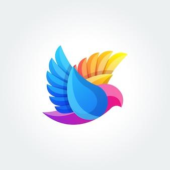 Modello di uccello astratto logo design vettoriale. icona di concetto di flying colomot logotype