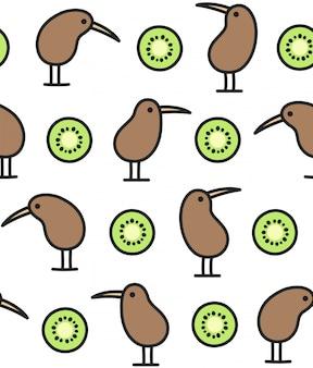 Modello di uccello e frutta kiwi